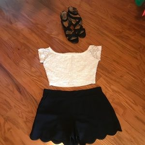 Hollister White Lace Off the Shoulder Crop Top